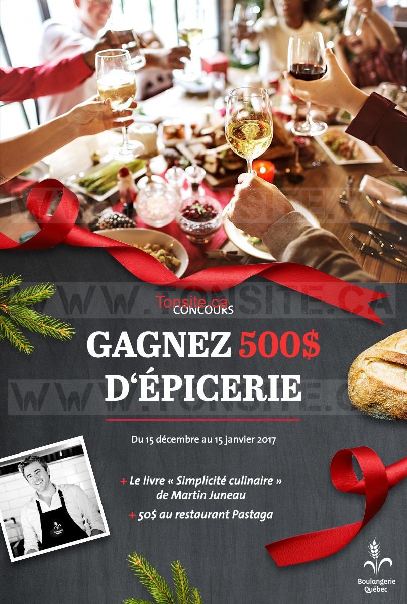 Concours Boulangerie Québec: Gagnez un panier d'épicerie d'une valeur de 500 $ au marché de votre choix !
