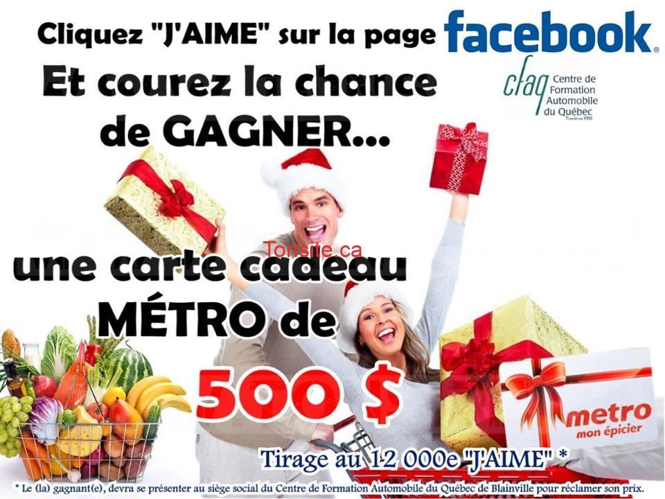 Concours Centre de Formation automobile du Québec: Gagnez une carte-cadeau Métro de 500$