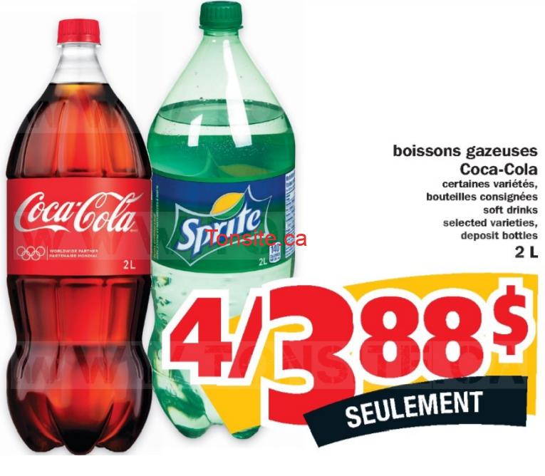 Boissons gazeuses Coca-Cola et Sprite (2L) à 0.97$ seulement!