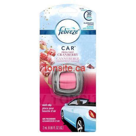 Assainisseur d'air Pince pour bouche d'air au parfum canneberge Fraîchement Cueillie CAR de Febreze à 98¢ au lieu de 3.97$
