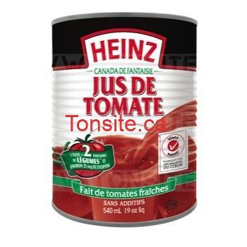 Jus de tomate Heinz (540 mL) à 60¢ au lieu de 1,29$