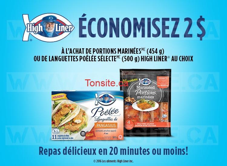 Coupon rabais de 2$ à l'achat de portions marinées (454 g) ou de languettes poêllée sélecté (500 g) High Liner au choix
