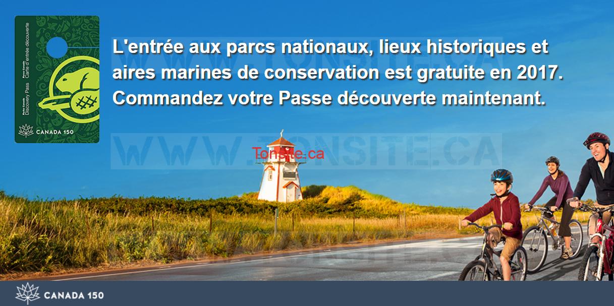 GRATUIT: Obtenez une carte d'entrée Découverte de Parcs Canada 2017 Gratuite