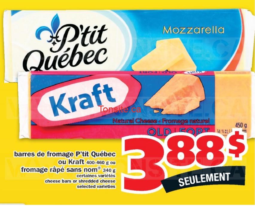 Barres de fromage P'tit Québec ou Kraft (400 - 600 g) à 3,88$ au lieu de 7,29$