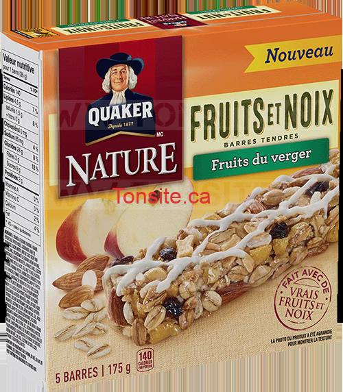 Coupon rabais de 50¢ sur une boîte de barres tendres Quaker Nature Fruits et noix au choix (175 g, saveur au choix)