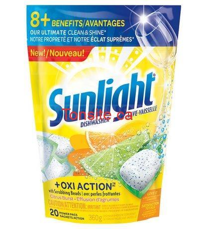 Obtenez un emballage de détergent pour lave-vaisselle Sunlight Gratuitement + 1.03$ dans vos poches