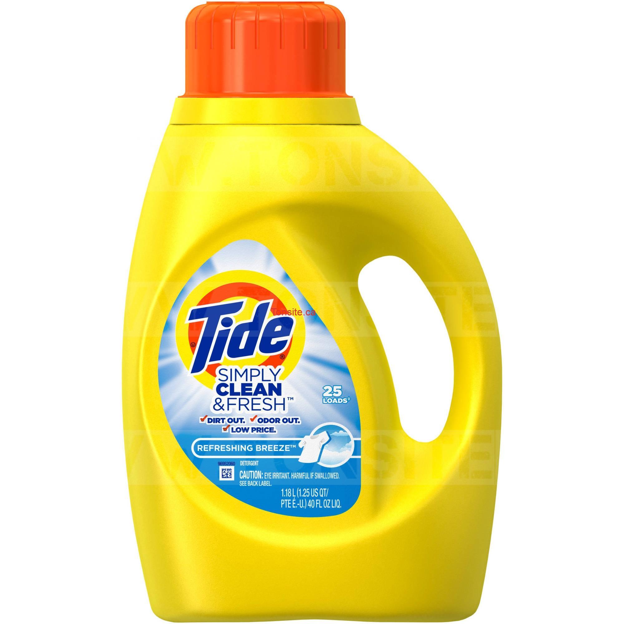 Détergent à lessive liquide Tide Simply Clean (25 brassées) à 50¢ au lieu de 5,99$