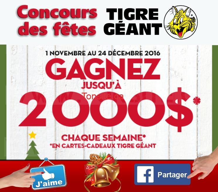 Concours Tigre Géant: Gagnez jusqu'à 2000$ chaque semaine en cartes-cadeaux Tigre Géant