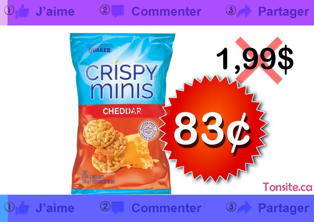 Croustilles de riz Crispy Minis à 83¢ seulement!