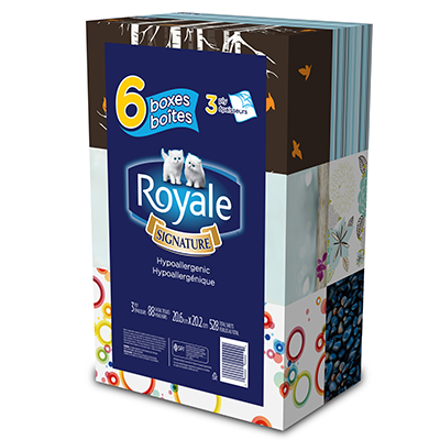 Coupon rabais caché de 1$ sur un emballage multiple de 6 boîtes de mouchoirs à 3 épaisseurs Royale