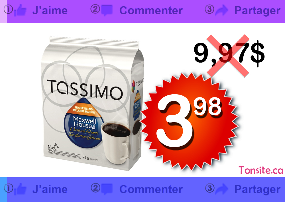 Cartouches de café individuelles Tassimo (16 unités) à 3.98$ au lieu de 9,97$