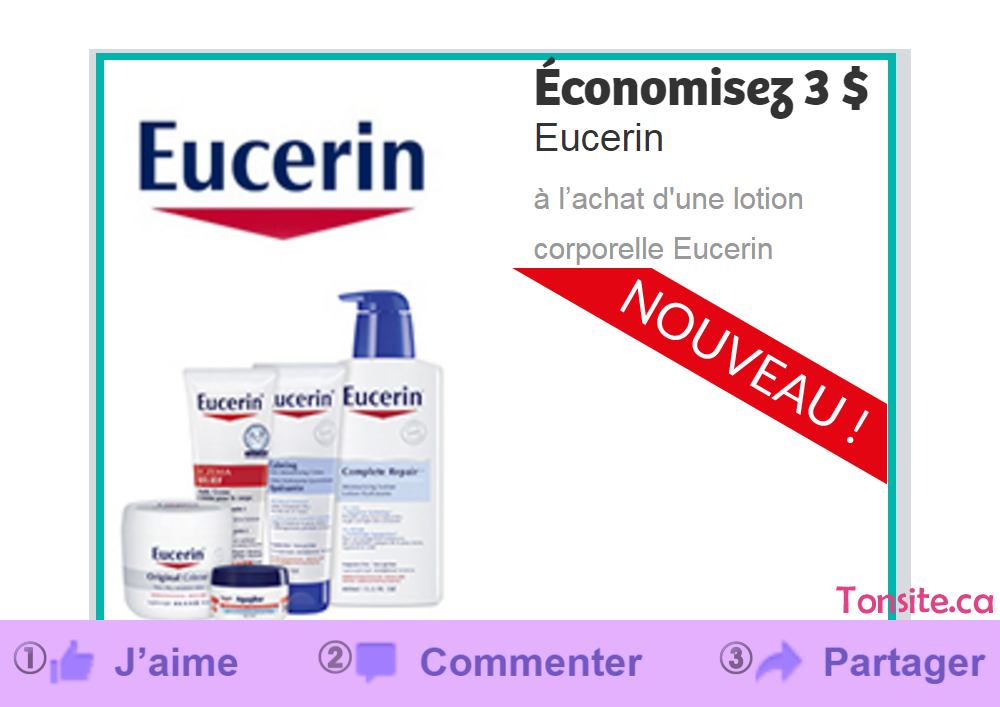 Coupon rabais de 3$ sur une lotion corporelle Eucerin