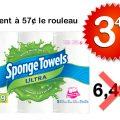 Emballage de 6 rouleaux d'essuie-tout Sponge Towels à 3,44$ au lieu de 6,49$