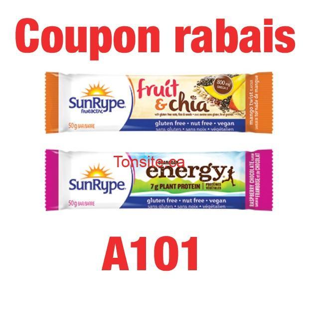 Coupon rabais: Achetez une (1) barre SunRype et obtenez-en une deuxième gratuitement!