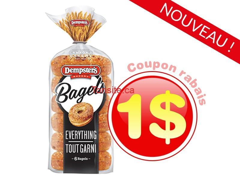 Coupon rabais de 1$ sur un paquet de bagels Dempster's