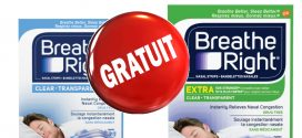 GRATUIT: Obtenez votre échantillon gratuit de Bandelettes nasales Breathe Right