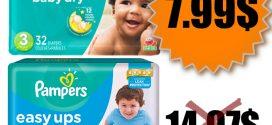 Emballage de couches Pampers ou culottes Easy Ups à 7.99$ au lieu de 14.97