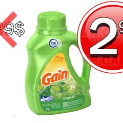 Détergent à lessive Gain (32 brassées) à 2,99$ au lieu de 6,99$