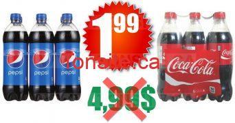 6 bouteilles de Pepsi ou Coca Cola (710 ml) à 2.29$ seulement!