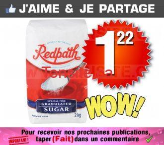 Surce blanc granulé Redpath à 1,22$ seulement!
