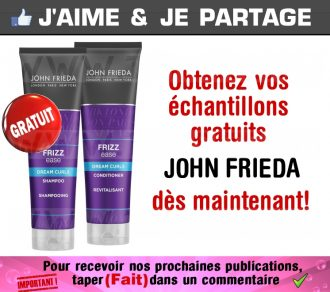 GRATUIT: Obtenez 2 échantillons gratuits de produits John Frieda