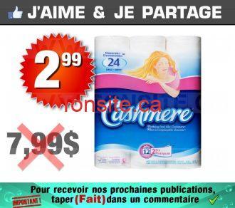 Emballage de 12 rouleaux de papier hygiénique Cashmere à 2,99$ au lieu de 7,99$