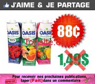Jus Oasis à 88¢ au lieu de 1,49$