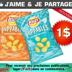 Coupon rabais de 1$ sur un sac de collations de pommes de terre Lay's Poppables