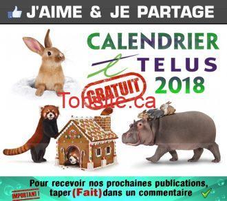 GRATUIT: Obtenez un calendrier Telus 2018 GRATUITEMENT!