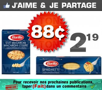 Pâtes alimentaire Barilla à 88¢ au lieu de 2,19$