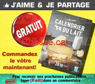 GRATUIT: Obtenez le Calendrier du lait 2018 GRATUITEMENT !