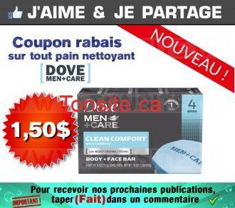 Coupon rabais de 1,50$ sur tout pain nettoyant Dove Men+Care