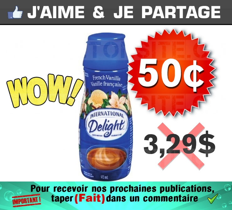 Colorant à café International Delight à 50¢ au lieu de 3,29$
