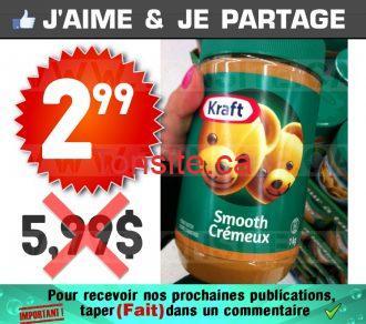Beurre d'arachide KRAFT (1kg) à 2,99$ au lieu de 5,99$