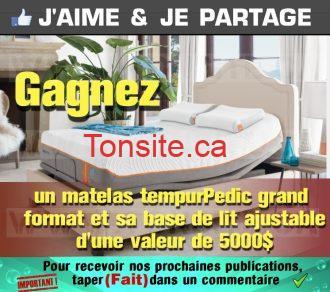 Concours Ashley: Gagnez un matelas grand lit TempurPedic et sa base de lit ajustable d'une valeur de 5000 $