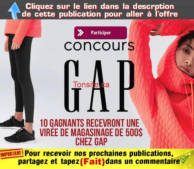 GAP CONCOURS1 - Concours GAP: Gagnez 1 des 10 virées de magasinage de 500$ chez GAP