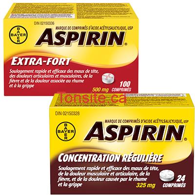 aspirin photo - Coupon rabais de 3$ valide à l'achat d'Aspirin concentration régulière et Extra-fort
