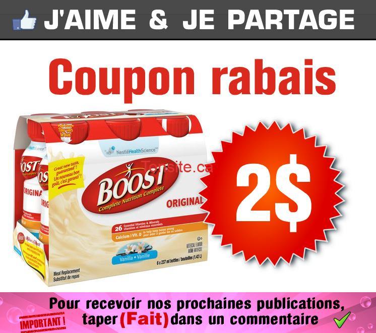 boost coupon - Coupon rabais de 2$ sur tout emballage de BOOST ou contenant de BOOST Juste Des Proténes, variété au choix
