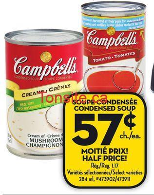 campbells soupe 57 - Soupe condensée Campbell's à 57¢ seulement!