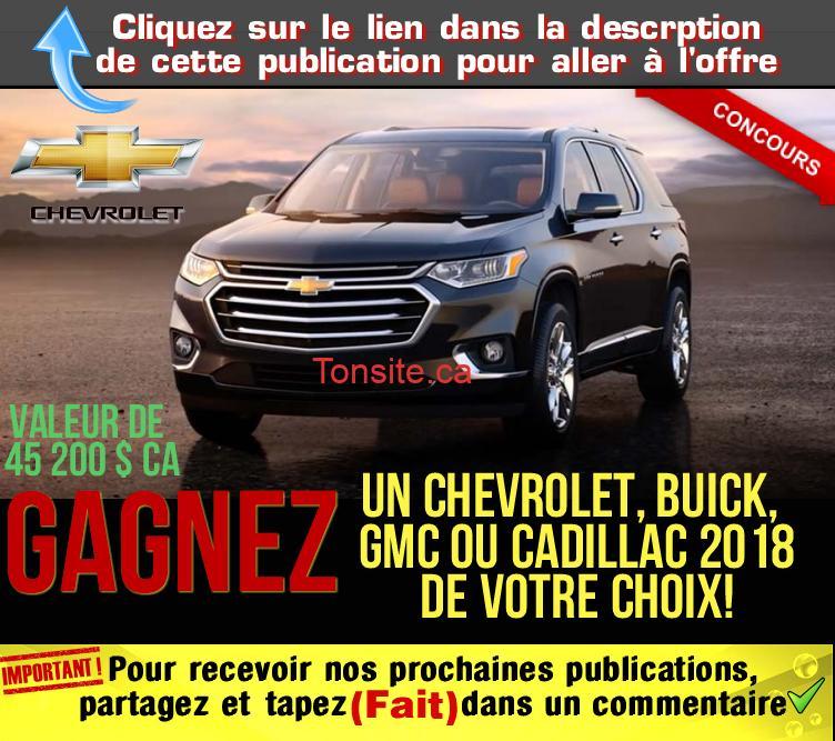 chevrolet concours - Concours Chevrolet: Gagnez un Chevrolet, Buick, GMC ou Cadillac 2018 de votre choix!