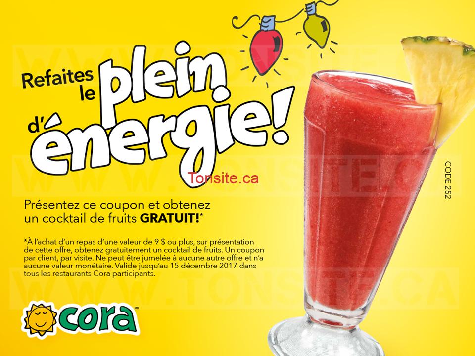 Cora Restaurants: Obtenez un cocktail de fruits GRATUIT