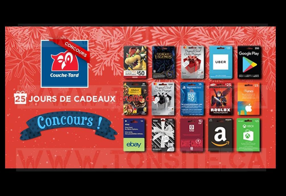 Concours Calendrier de l'avent Couche-Tard: 1 prix par jour sera tiré au sort durant 25 jours
