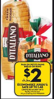 ditaliano2dolar - Pain ou petits pains D'italiano à 2$ au lieu de 3,48$
