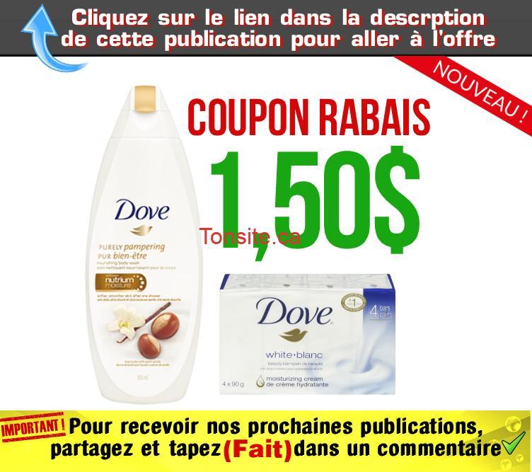 dove 150 coupon - Coupon rabais de 1,50$ sur tout pain de beauté et nettoyant pour le corps Dove