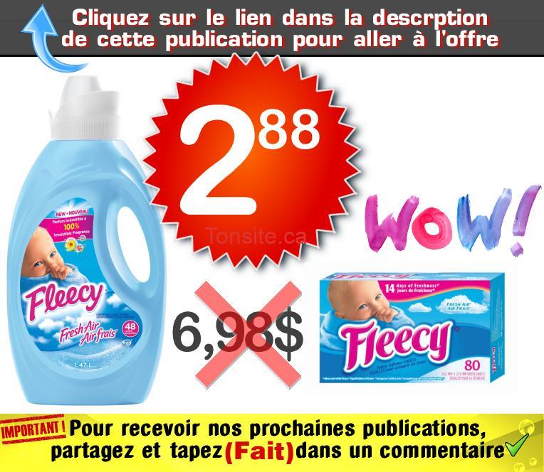 fleecy 288 698 - Assouplisant textile en feuilles ou liquide Fleecy à 2,88$ au lieu de 6,98$