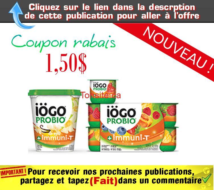 iogo probio coupon - Coupon rabais de 1,50$ sur un produit iögo Probio yogourt