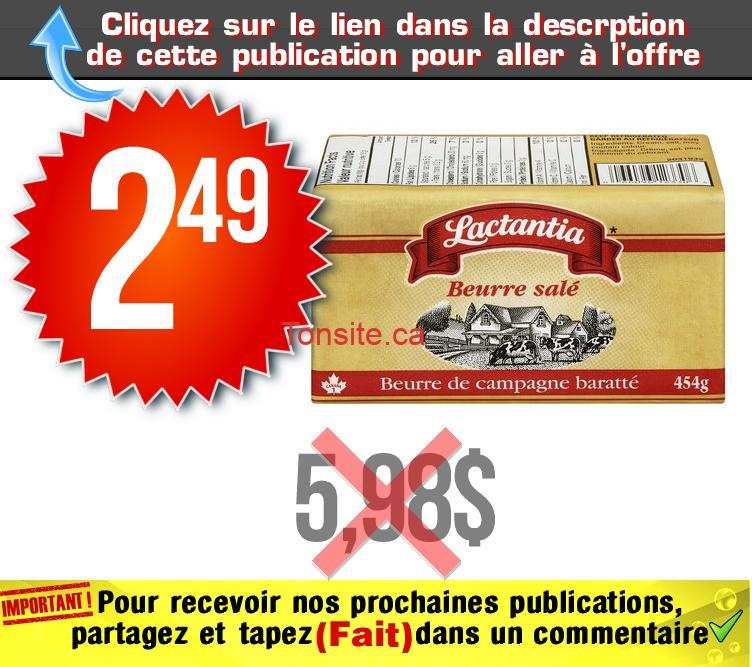 lactantia beurre 249 598 - Beurre salé Lactantia à 2,49$ au lieu de 5,98$ (sans coupon)