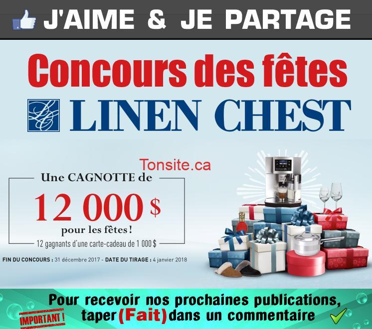 Concours Linen Chest: Gagnez une des 12 cartes-cadeaux de 1000$