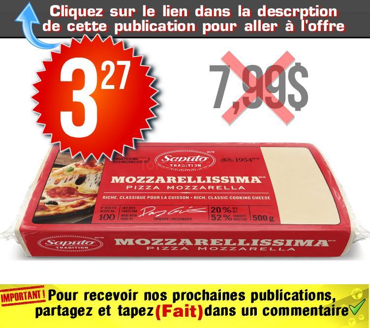 mozza 327 799 - Barre de fromage Mozzarellissima Saputo (500 g) à 3,27$ au lieu de 7,99$