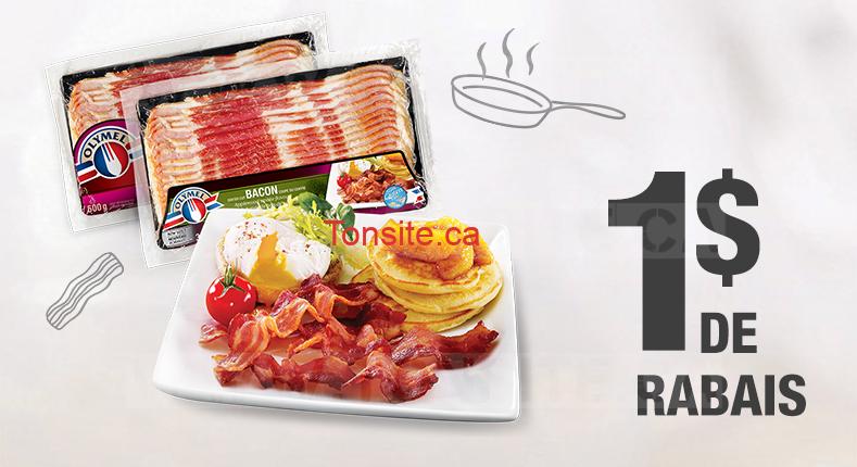Coupon rabais de 1$ sur un emballage de bacon frais Olymel (375g)